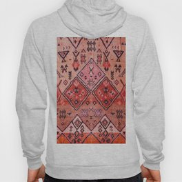 N52 - Pink & Orange Antique Oriental Traditional Moroccan Style Artwork Hoody