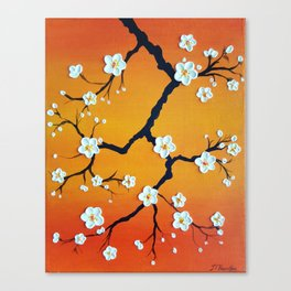 Cherry Blossoms Over an Orange Sky Canvas Print