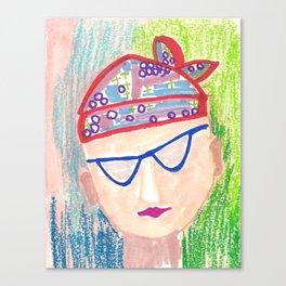 Crazy Face Red Bandana Canvas Print