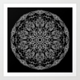 Mandala Project 213 | White Lace on Black Art Print