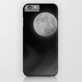 Moon Sky // La Luna in the Dark Night Clouds Stars Full Glowing Dream Like Fantasy iPhone Case