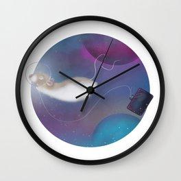 Marty's Space Adventure, round space illustration, colourul, rat art, digital illustration Wall Clock
