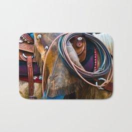 Tools of the Trade - Cowboy Saddle Closeup Bath Mat