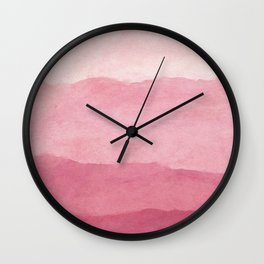 Ombre Waves in Pink Wall Clock