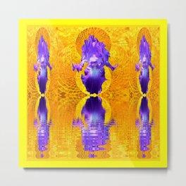 Triple Purple Iris Water Fantasy Gold  Landscape. Metal Print