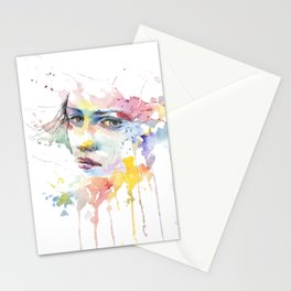 Mina watercolor face Stationery Cards