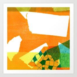 Orange abstract collage Art Print