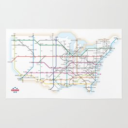 Interstate Highways as a Subway Map Rug