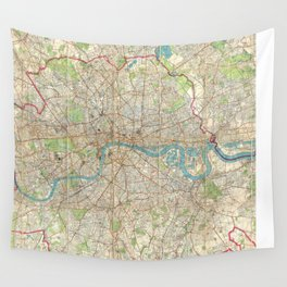 Vintage Map of London England (1899) Wall Tapestry