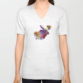 Moose 04 in watercolor Unisex V-Neck