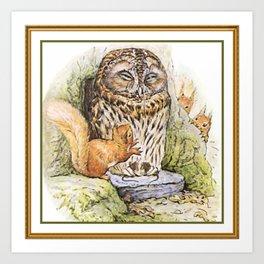 Squirrels tease a sleeping Owl Art Print
