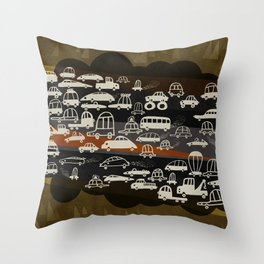 automobiles in a jam Throw Pillow