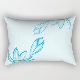 blue botanical crocus flowers watercolor Rectangular Pillow