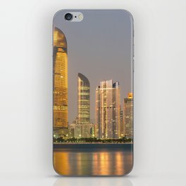 Abu Dhabi Seascape with skyscrapers in the background at evening iPhone Skin