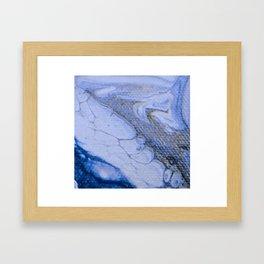 Acrylic Pour Blue Swirl Framed Art Print