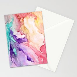 Color My World Watercolor Abstract Painting Stationery Cards