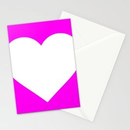 Heart (White & Magenta) Stationery Cards