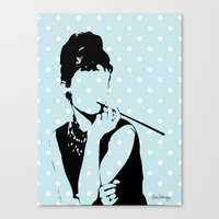 hepburn Canvas Prints featuring Hepburn by Kimberly Whaley