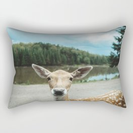 Fawn in nature looking in camera Rectangular Pillow