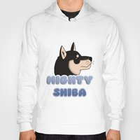shiba Hoodies featuring Mighty Shiba by Cheesey