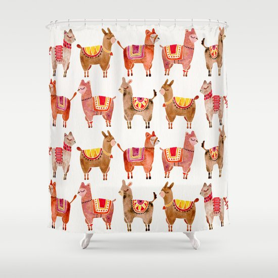 alpacas shower curtaincat coquillette | society6