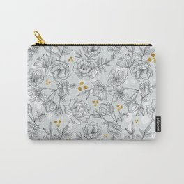 Pattern black and white flowers Carry-All Pouch