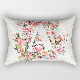 Initial Letter A Watercolor Flower Rectangular Pillow