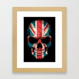 British Flag Skull on Black Framed Art Print