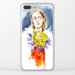 fashion #1. girl's portrait in a fur coat and a floral necklace around his neck Clear iPhone Case