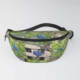 Blue Wren collage Fanny Pack