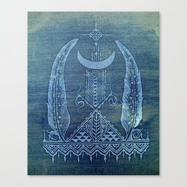 feathers in indigo crescent moon Canvas Print