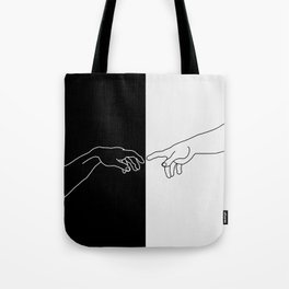 Hands of God and Adam- The creation of Adam Tote Bag