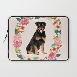 rottweiler floral wreath dog breed pet portrait pure breed dog lovers Laptop Sleeve