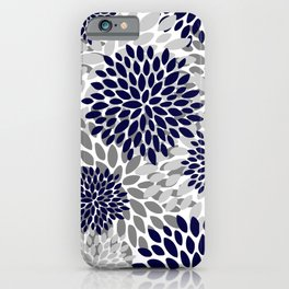 Abstract, Floral Prints, Navy Blue and Grey iPhone Case
