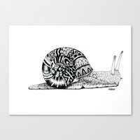 snail Canvas Prints featuring snail by Travis Sallaway