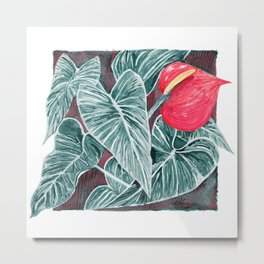 Pop Anthurium Leafs and Flowers Metal Print