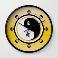 yin yang Wall Clocks featuring Yin yang by Nir P