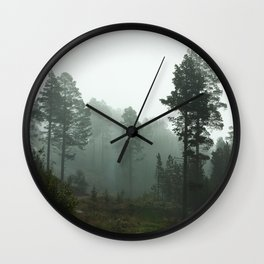 Foggy Forest In The Mountains I (Norway) Wall Clock