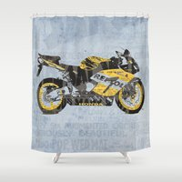 honda Shower Curtains featuring Honda CBR1000 & Old Newspapers by Larsson Stevensem