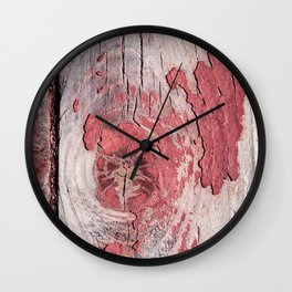 Wooden Planks With Snugs And Eroded Red Paint Wall Clock
