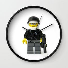 Cool policeman Minifig with a tommy gun Wall Clock