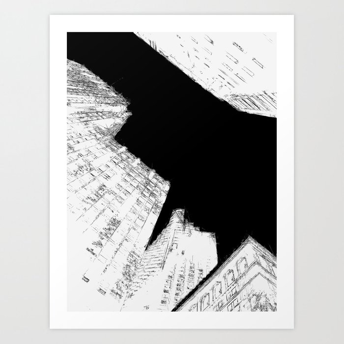 Drawing of Buildings in San Francisco Art Print