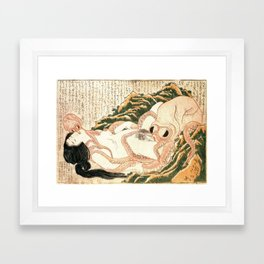 Hokusai - The Dream of the Fishermans Wife, or Tako To Ama, 1814 Framed Art Print