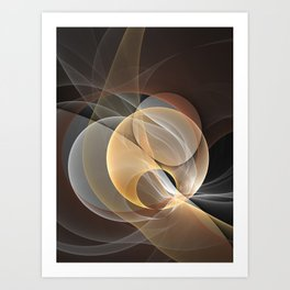 Brown, Beige And Gray Abstract Fractals Art Art Print