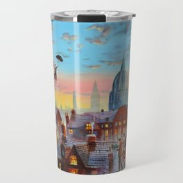 Mary Poppins flying above the rooftops of London Travel Mug