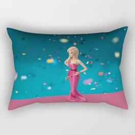 Barbie on pink carpet Rectangular Pillow