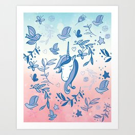 Blue and Pink Unicorn Dreams - Vintage blue unicorns and birds Art Print
