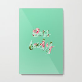 Boss Lady - Floral typography Metal Print