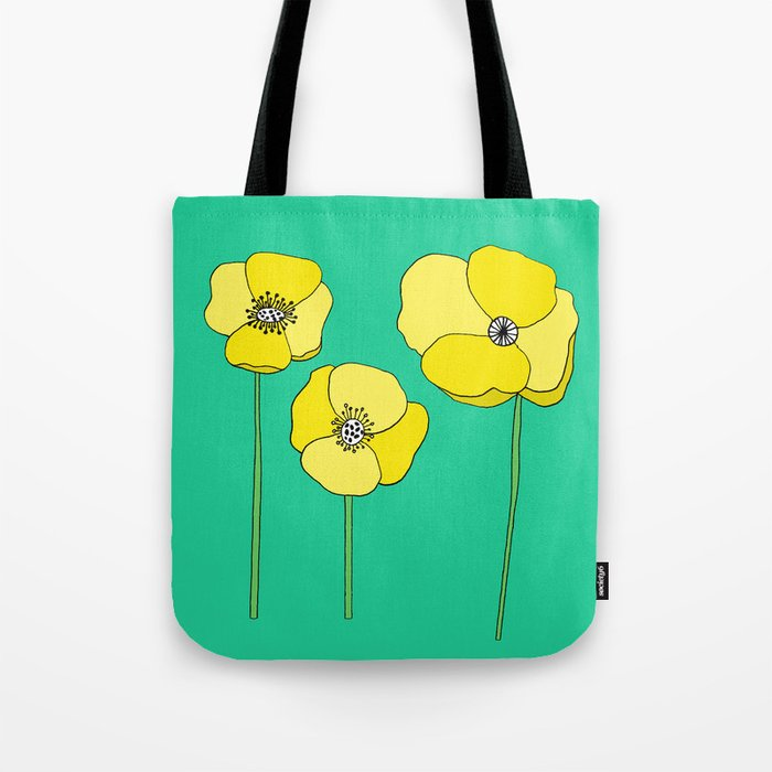 Bright Yellow and Mint Green Poppies Growing and Thriving Tote Bag