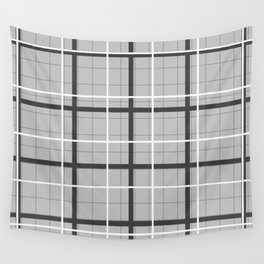 grid check layer_black, white Wall Tapestry